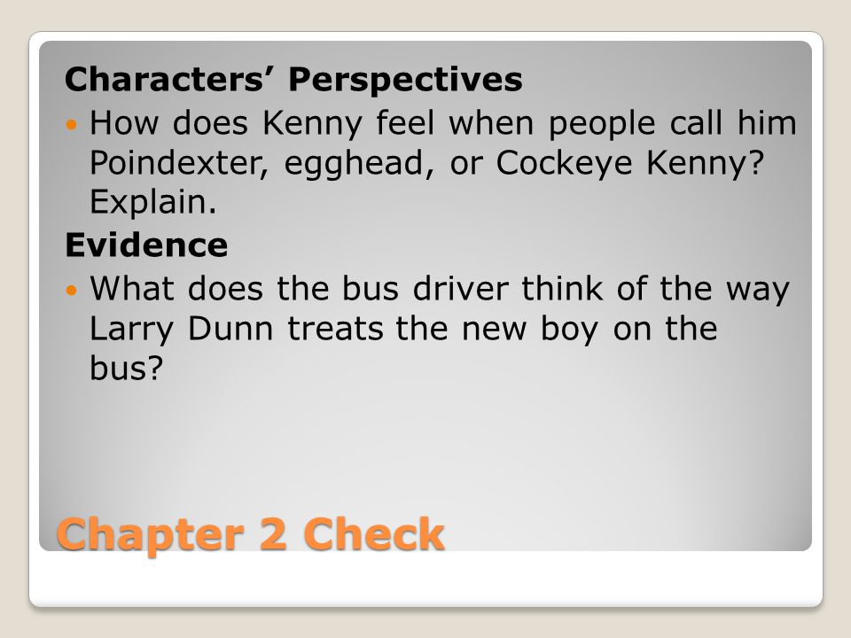 Chapter 2 Check Characters' Perspectives