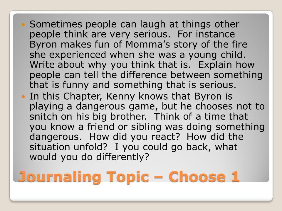 Journaling Topic – Choose 1