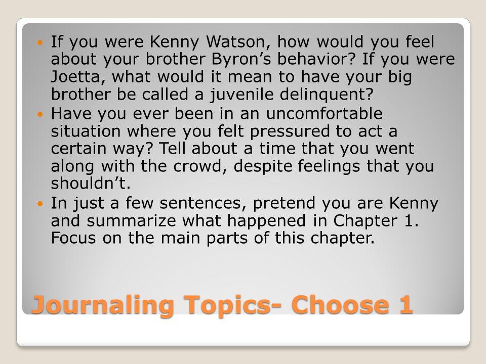 Journaling Topics- Choose 1