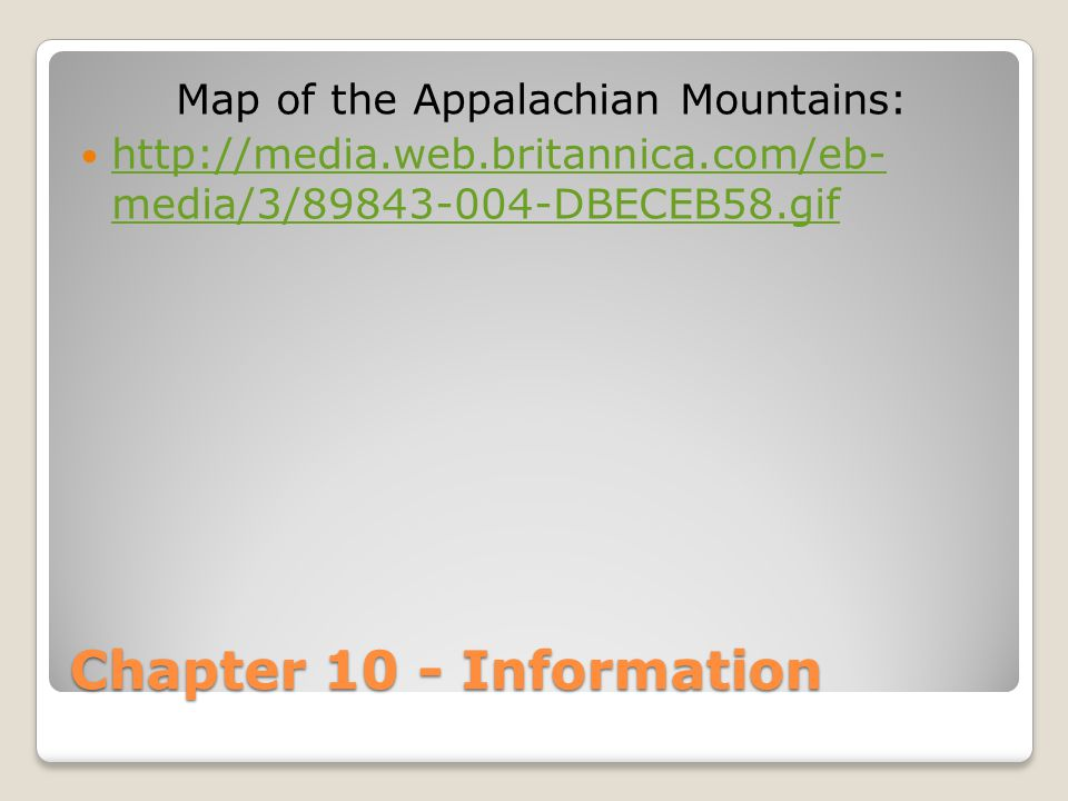 Map of the Appalachian Mountains: