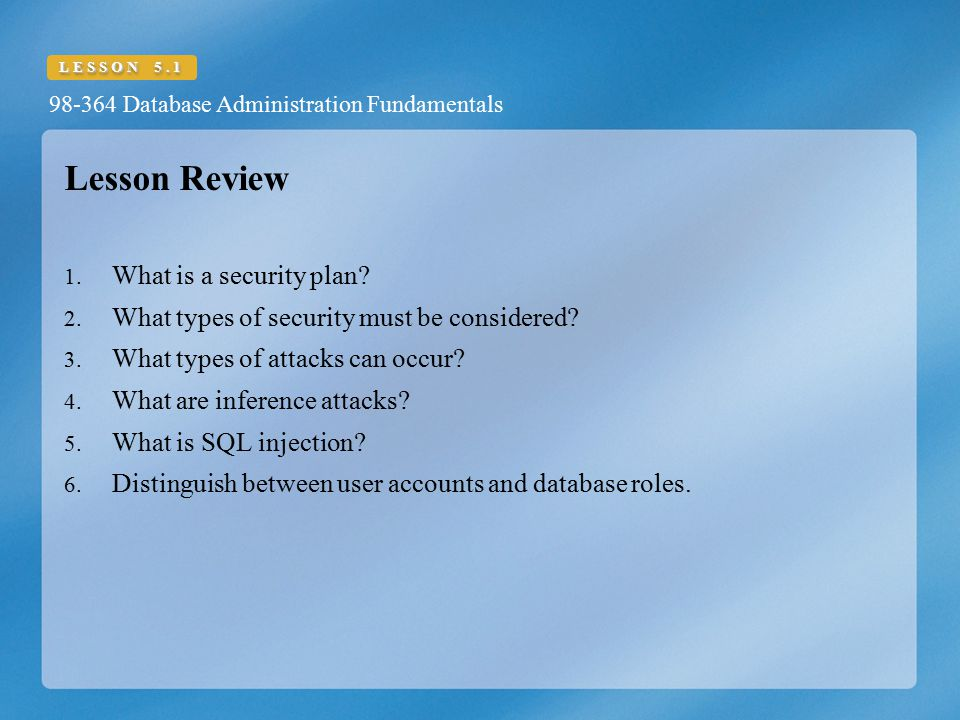 Lesson Review What is a security plan