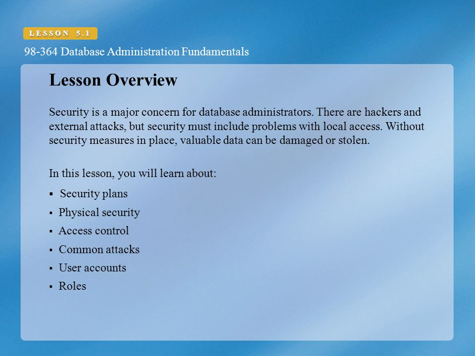 Lesson Overview Security plans