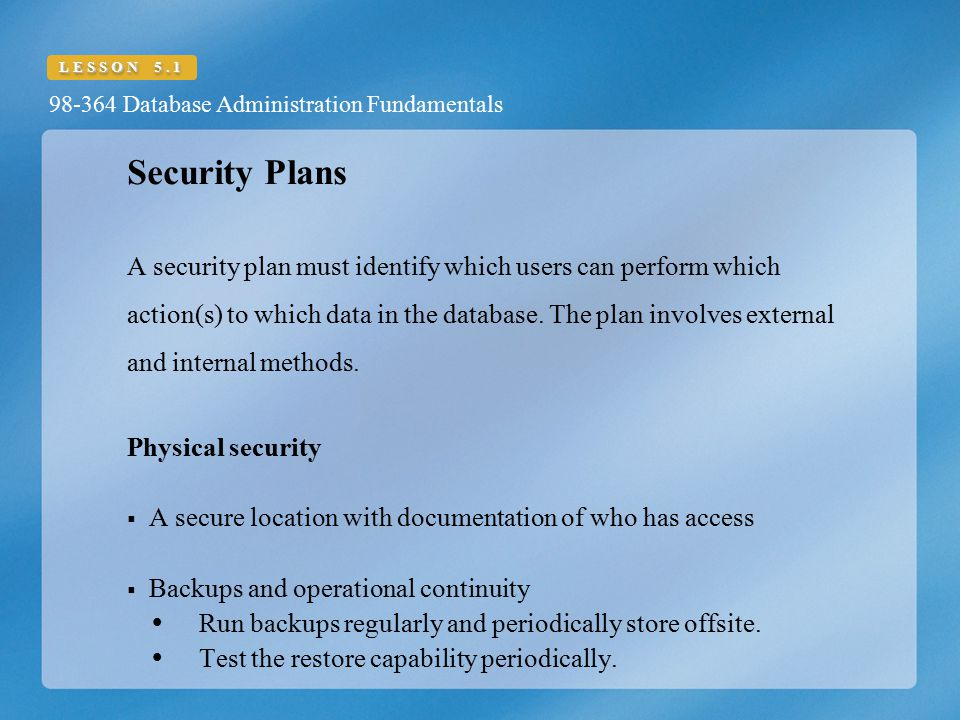Security Plans