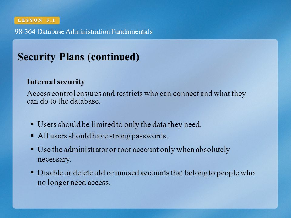 Security Plans (continued)