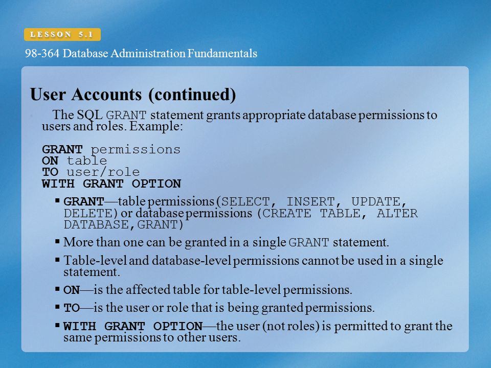 User Accounts (continued)