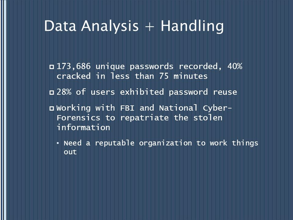 Data Analysis + Handling