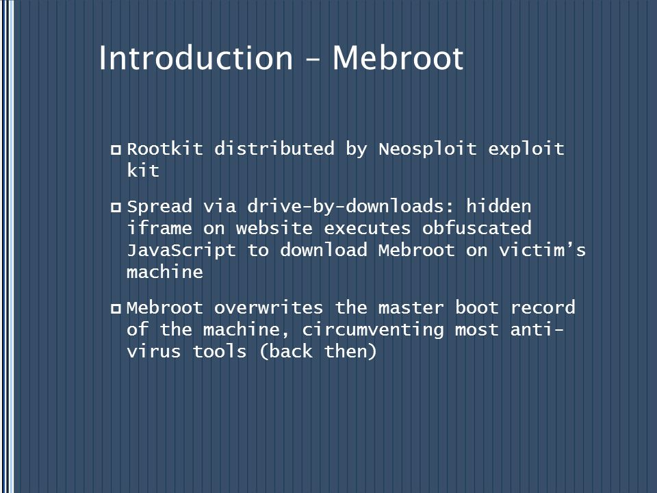 Introduction – Mebroot