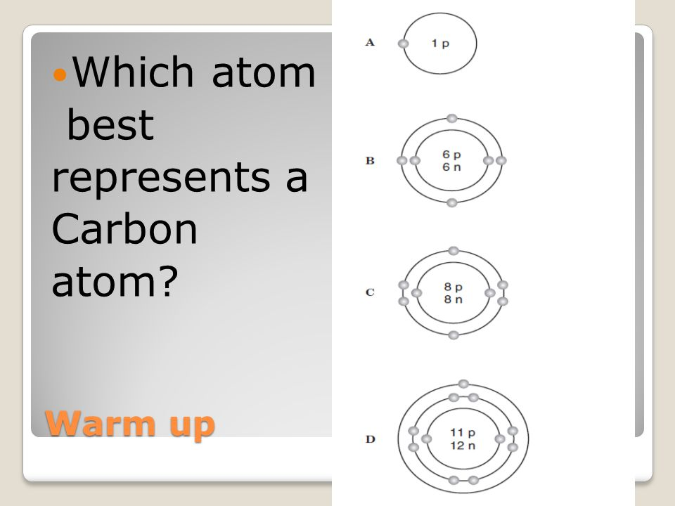 Which atom best represents a Carbon atom Warm up