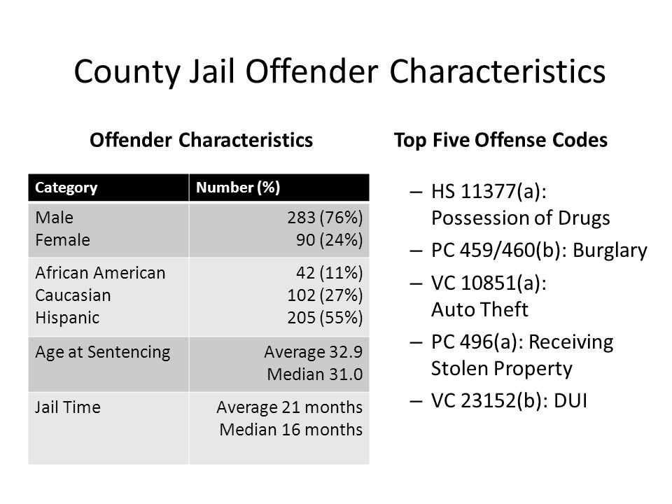 County Jail Offender Characteristics