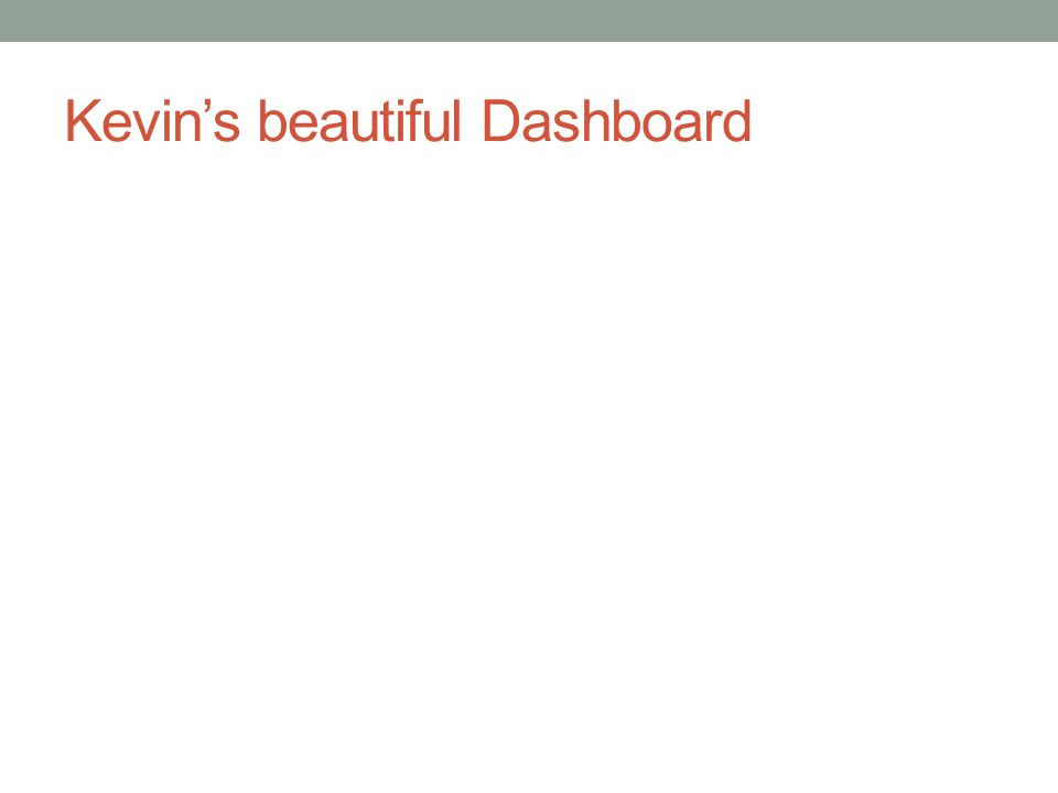 Kevin's beautiful Dashboard