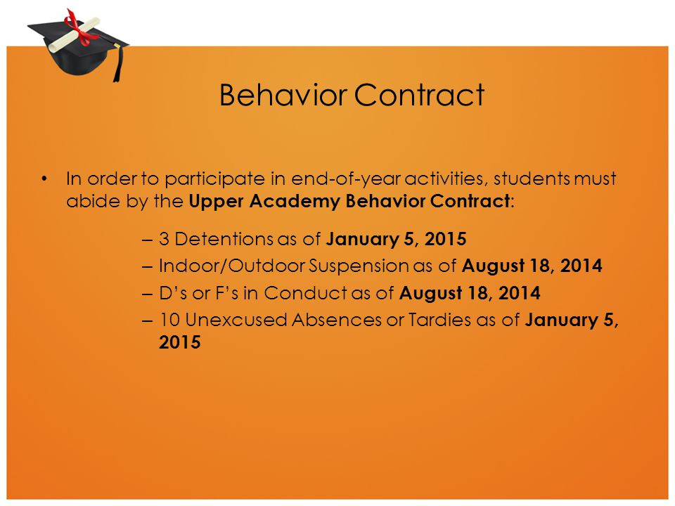 Behavior Contract In order to participate in end-of-year activities, students must abide by the Upper Academy Behavior Contract: