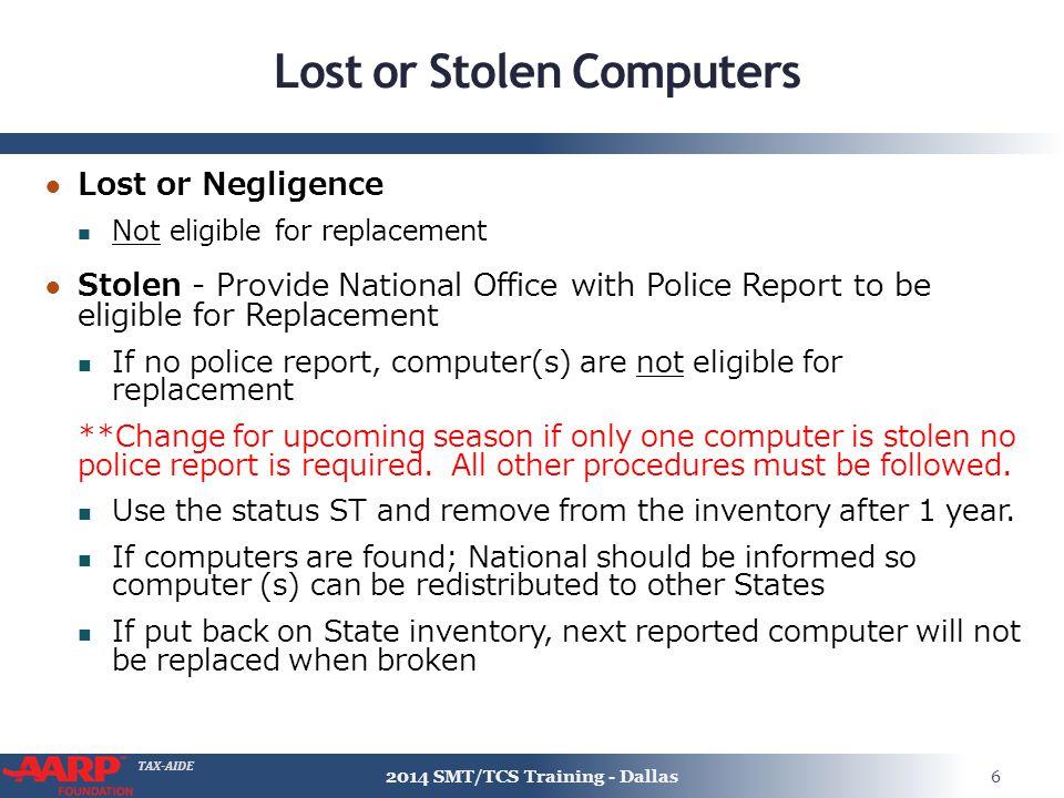 Lost or Stolen Computers