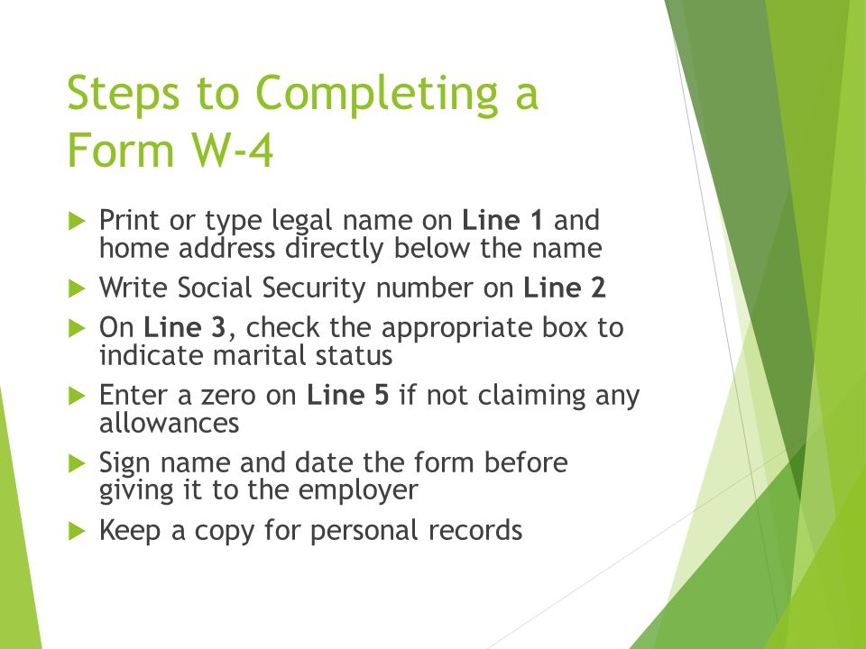 Steps to Completing a Form W-4