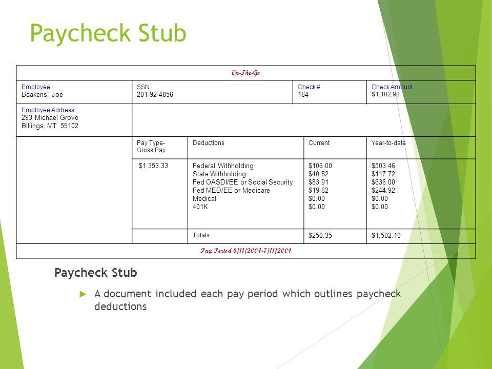 Paycheck Stub Paycheck Stub