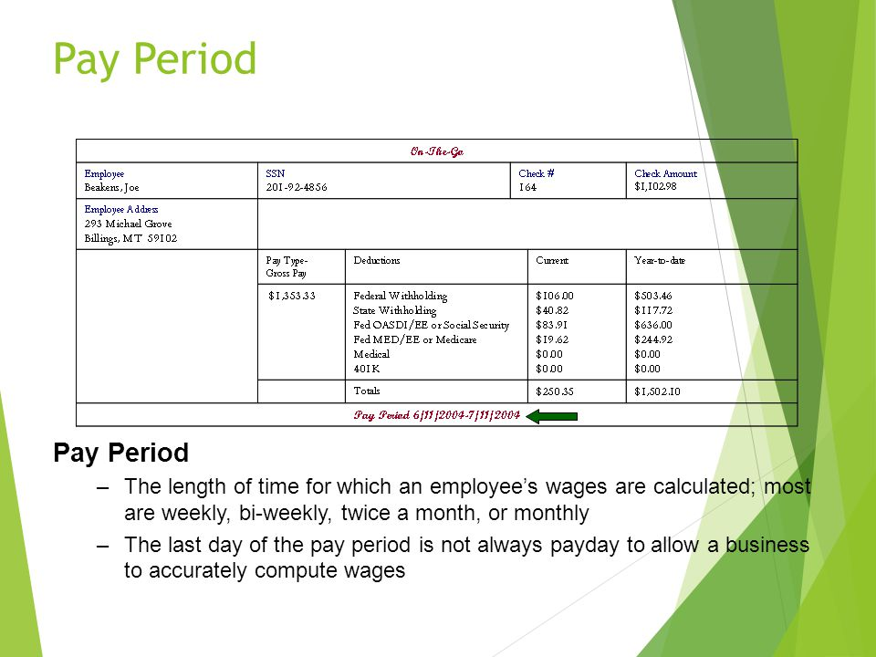 Pay Period Pay Period. The length of time for which an employee's wages are calculated; most are weekly, bi-weekly, twice a month, or monthly.