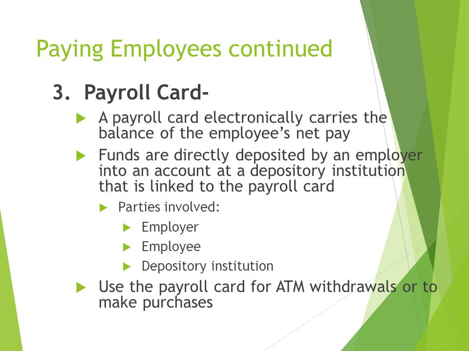 Paying Employees continued