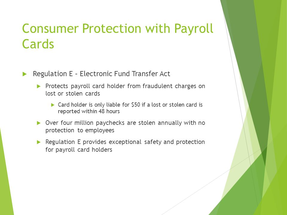Consumer Protection with Payroll Cards
