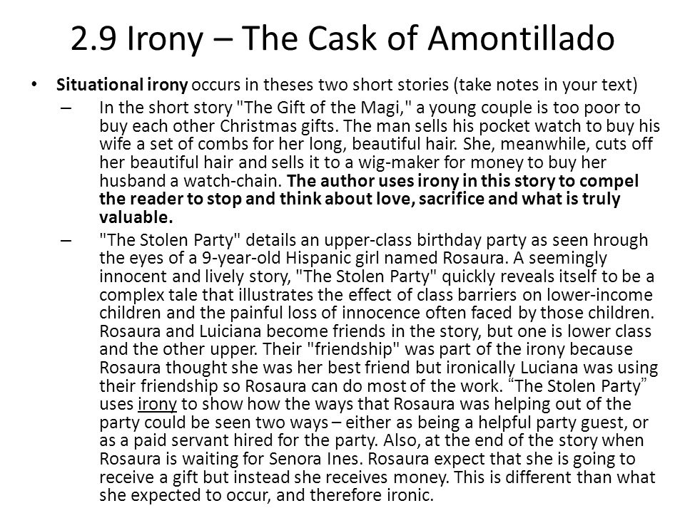 the cask of amontillado thesis statement irony