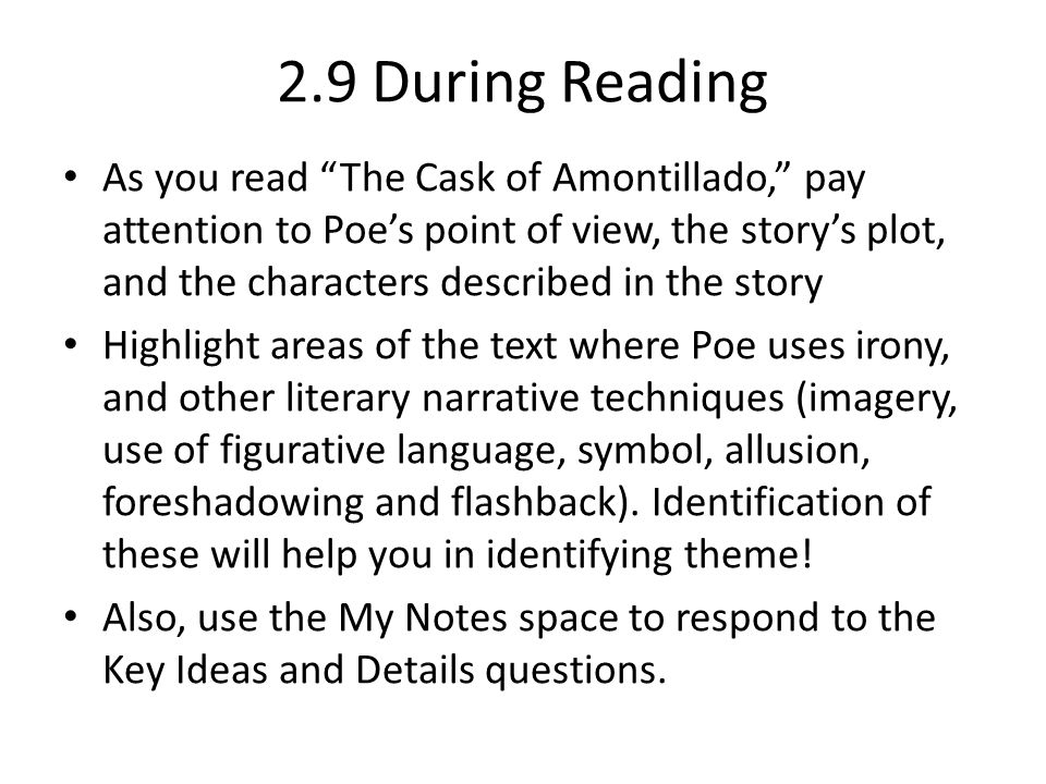 the cask of amontillado irony and symbolism Need help with the cask of amontillado in edgar allan poe's poe's stories check out our revolutionary side-by-side summary and analysis poe's stories the cask of amontillado summary & analysis from litcharts | the creators of sparknotes.