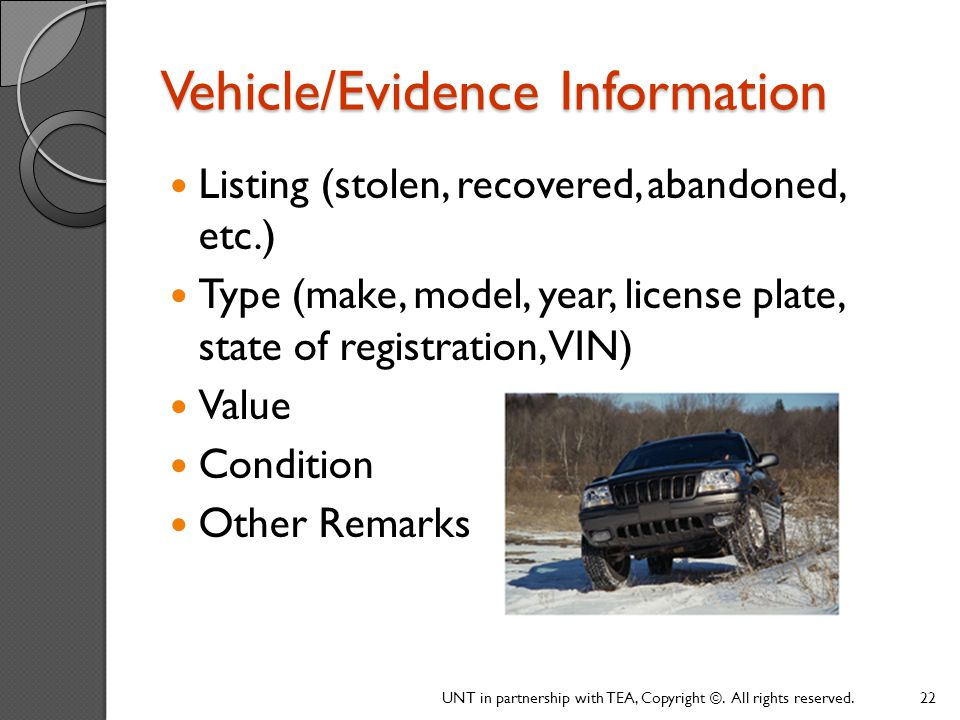 Vehicle/Evidence Information