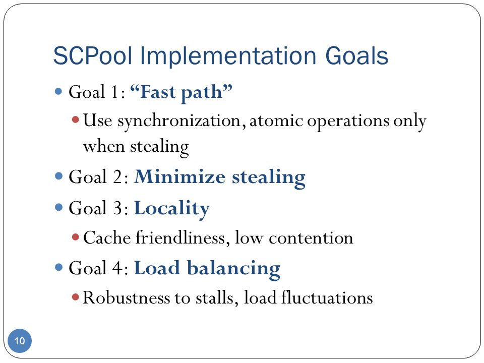 SCPool Implementation Goals