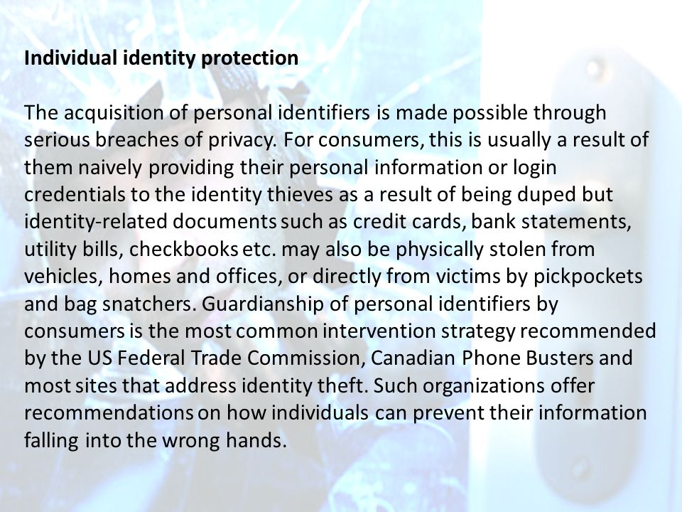 Individual identity protection