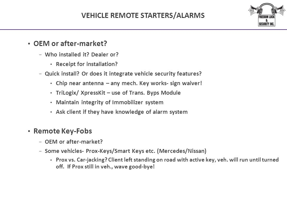 VEHICLE REMOTE STARTERS/ALARMS