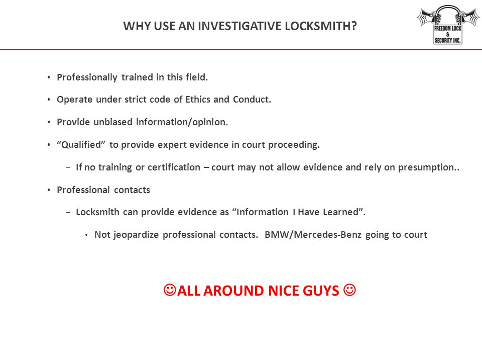 WHY USE AN INVESTIGATIVE LOCKSMITH