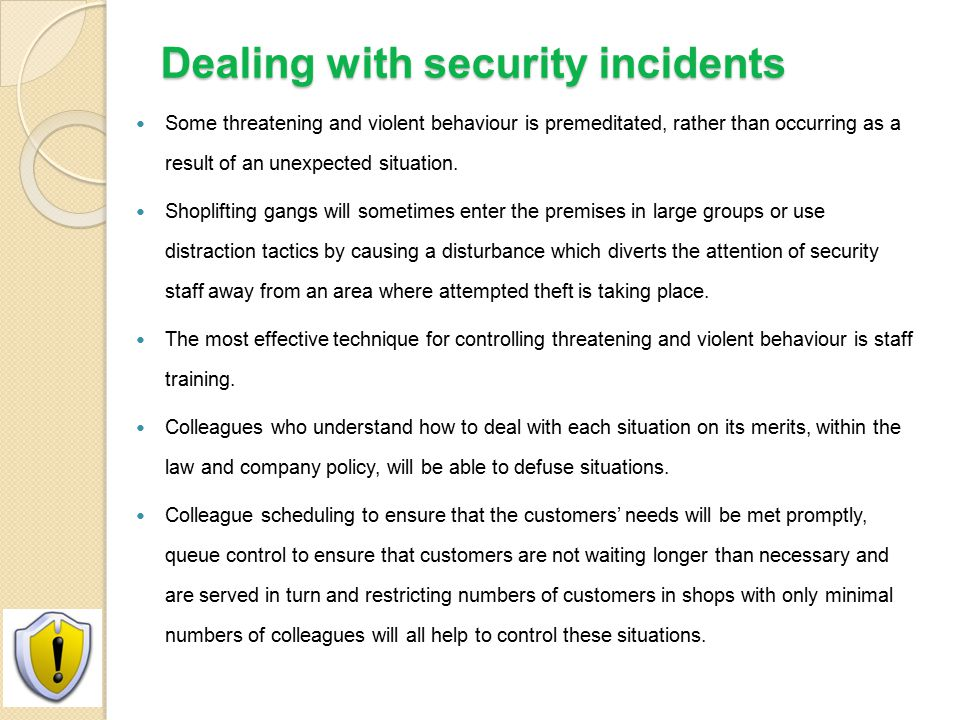 Dealing with security incidents