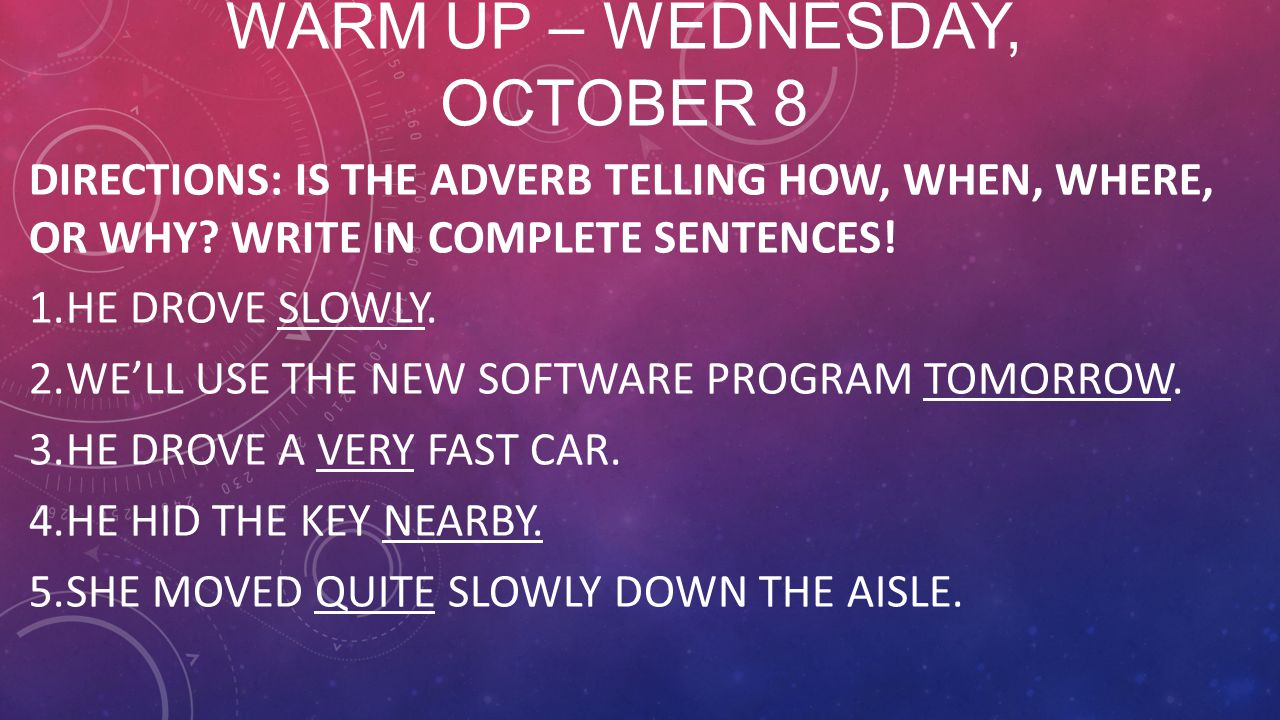 Warm Up – Wednesday, October 8