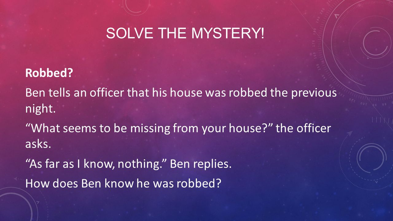 Solve the mystery!