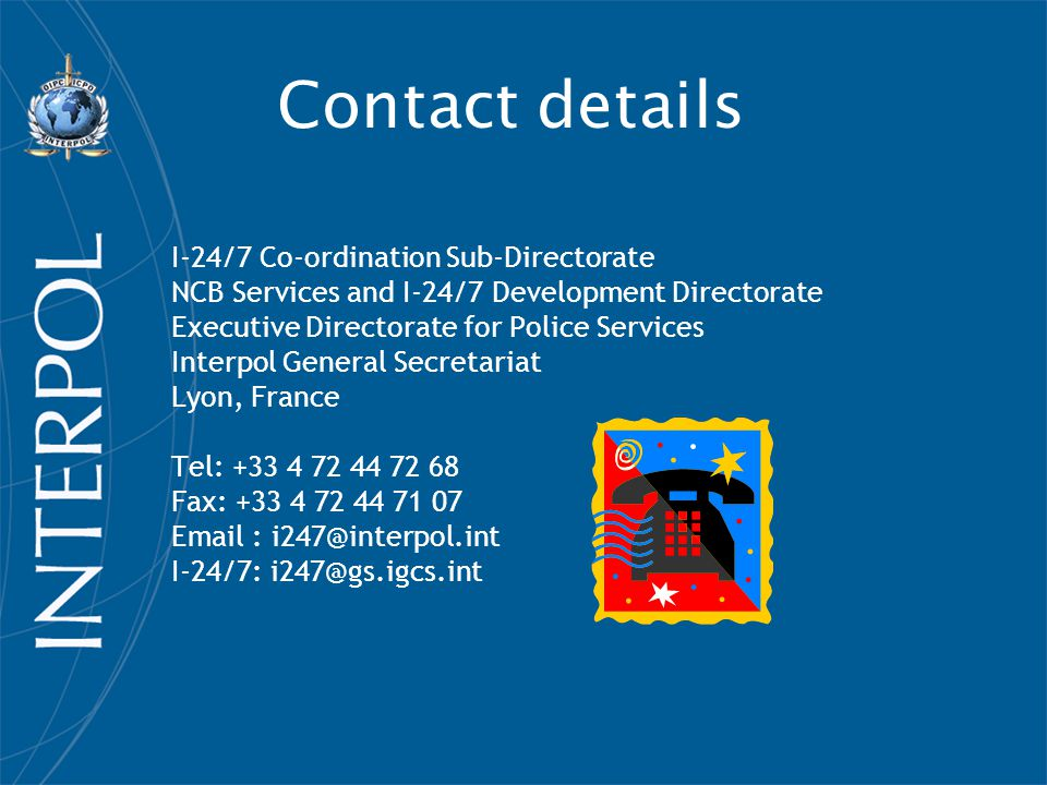 Contact details I-24/7 Co-ordination Sub-Directorate