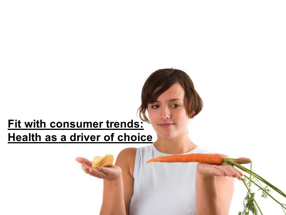 Fit with consumer trends: Health as a driver of choice