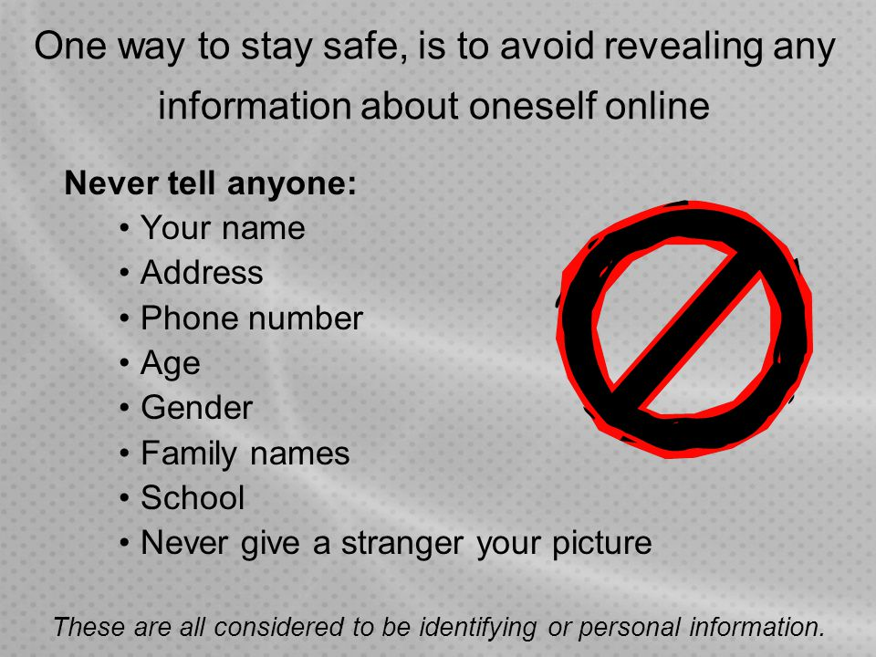 These are all considered to be identifying or personal information.