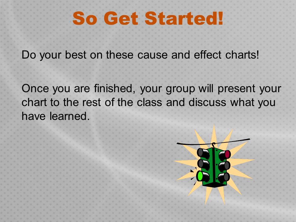 So Get Started! Do your best on these cause and effect charts!