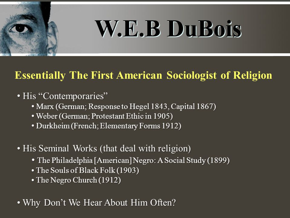 W.E.B DuBois Essentially The First American Sociologist of Religion