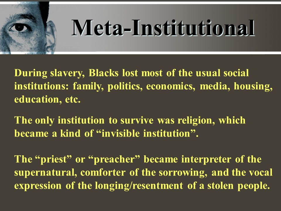 Meta-Institutional During slavery, Blacks lost most of the usual social institutions: family, politics, economics, media, housing, education, etc.