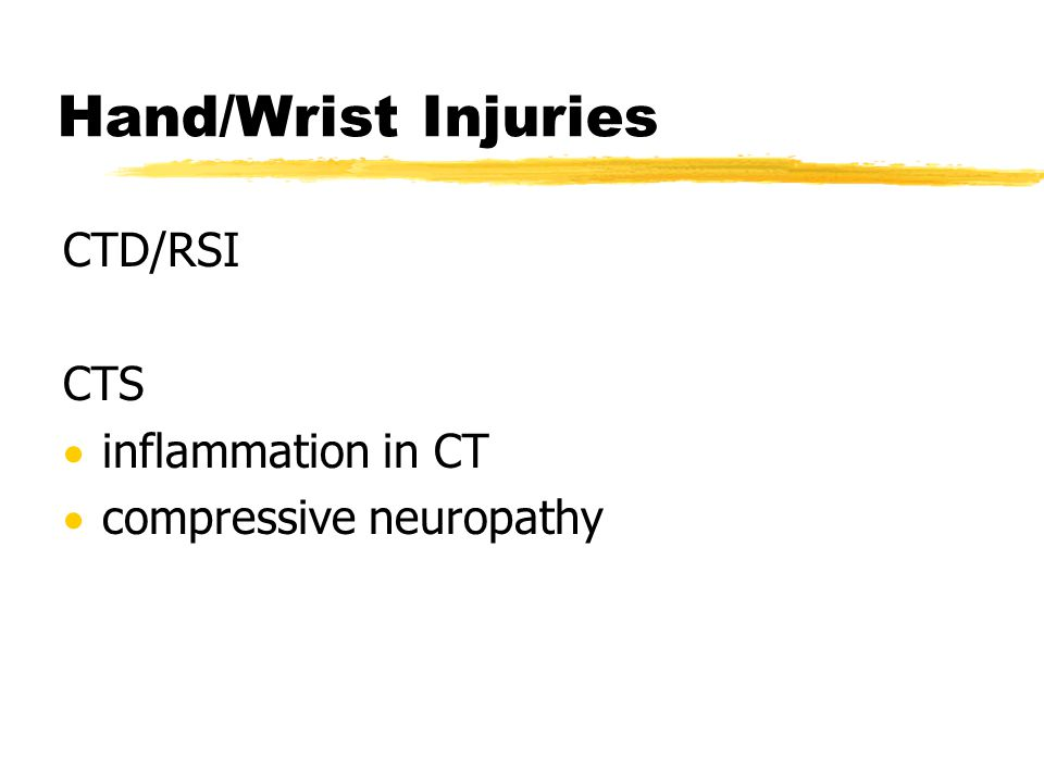 Hand/Wrist Injuries CTD/RSI CTS inflammation in CT