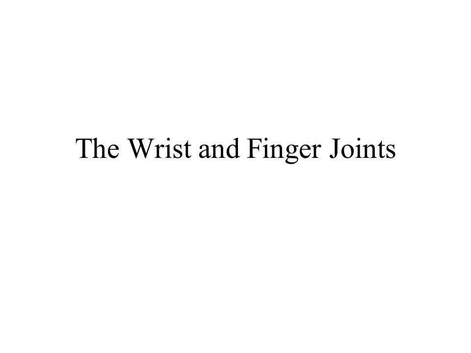 The Wrist and Finger Joints