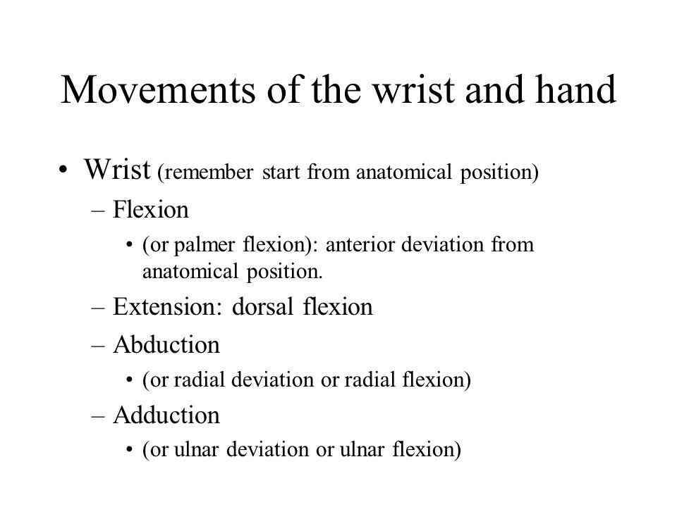 Movements of the wrist and hand