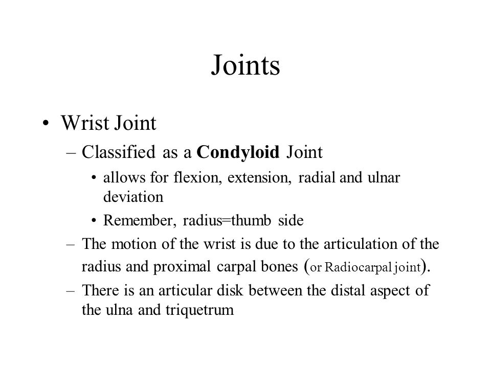 Joints Wrist Joint Classified as a Condyloid Joint