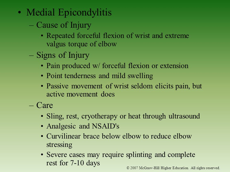 Medial Epicondylitis Cause of Injury Signs of Injury Care