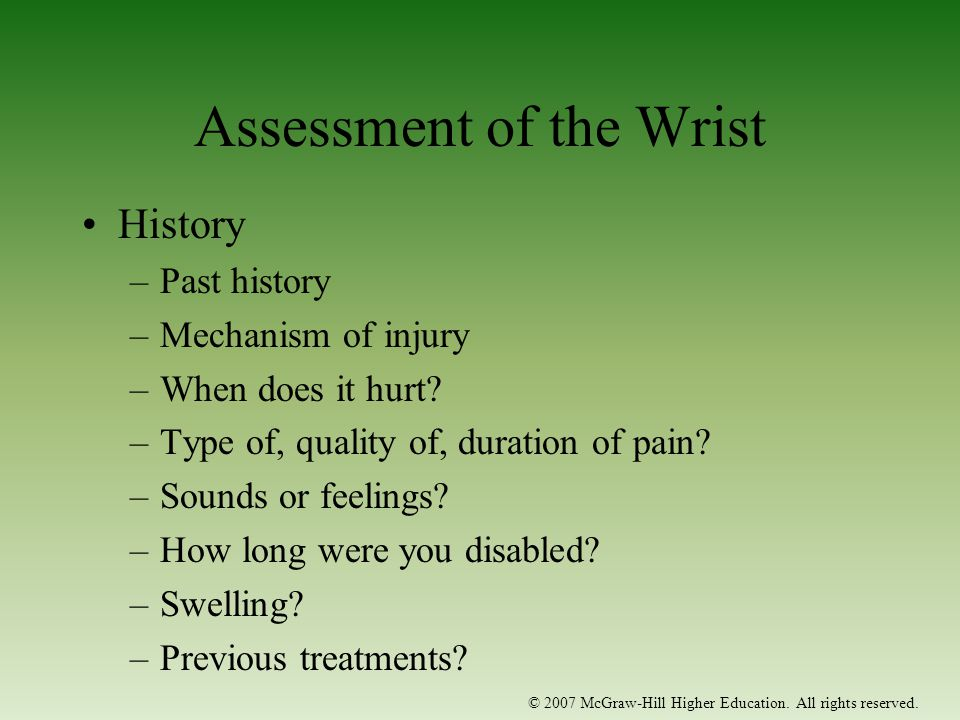 Assessment of the Wrist