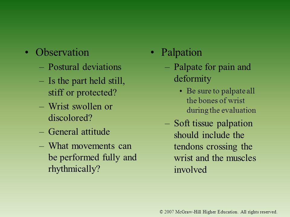 Observation Palpation Postural deviations