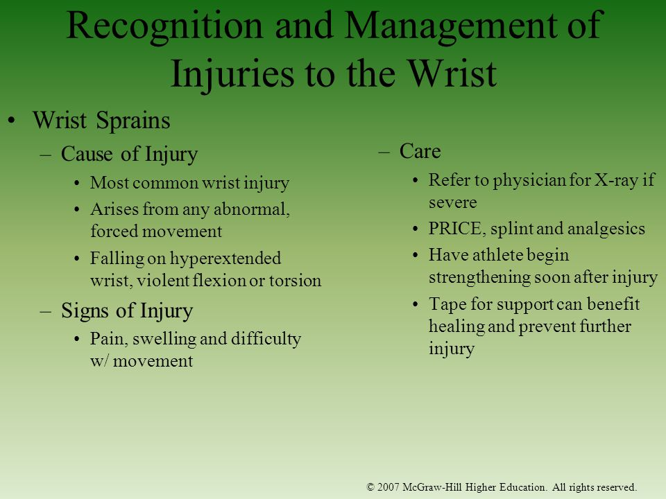 Recognition and Management of Injuries to the Wrist
