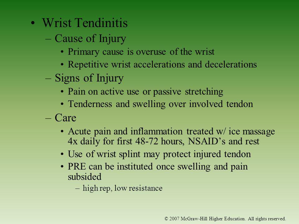 Wrist Tendinitis Cause of Injury Signs of Injury Care