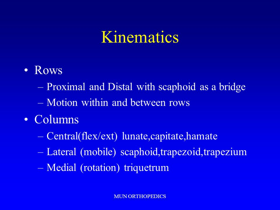 Kinematics Rows Columns Proximal and Distal with scaphoid as a bridge