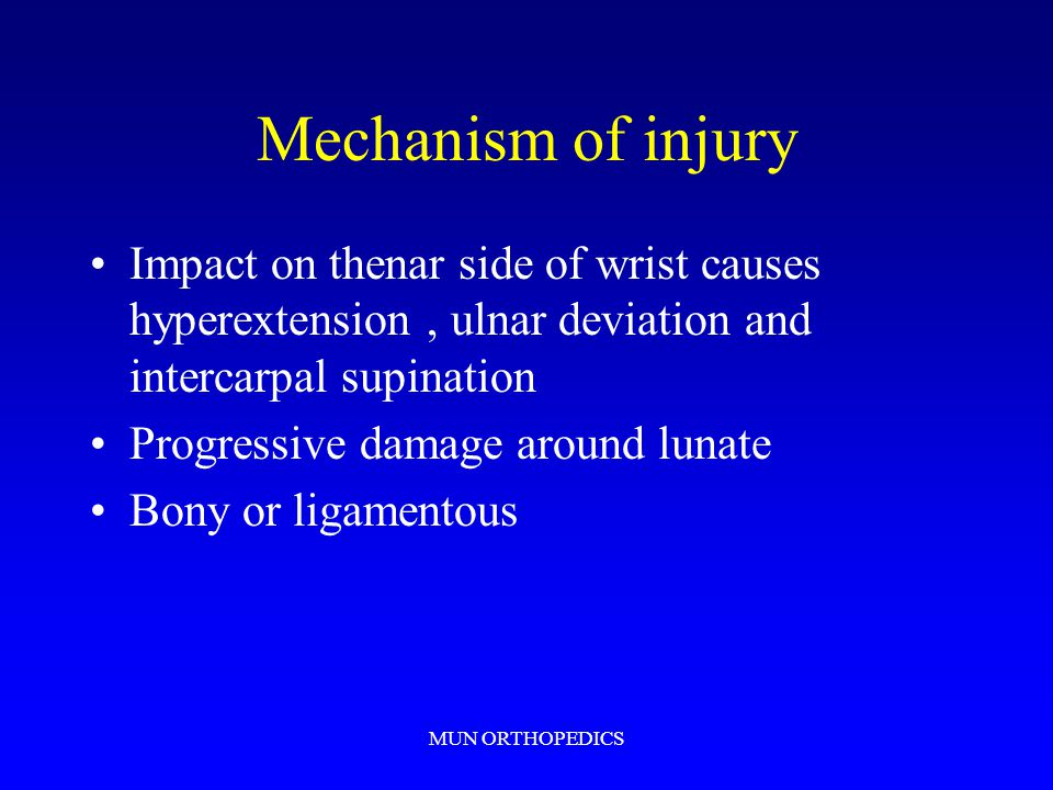 Mechanism of injury Impact on thenar side of wrist causes hyperextension , ulnar deviation and intercarpal supination.
