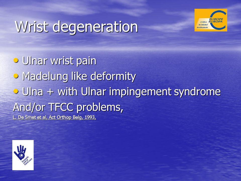 Wrist degeneration Ulnar wrist pain Madelung like deformity