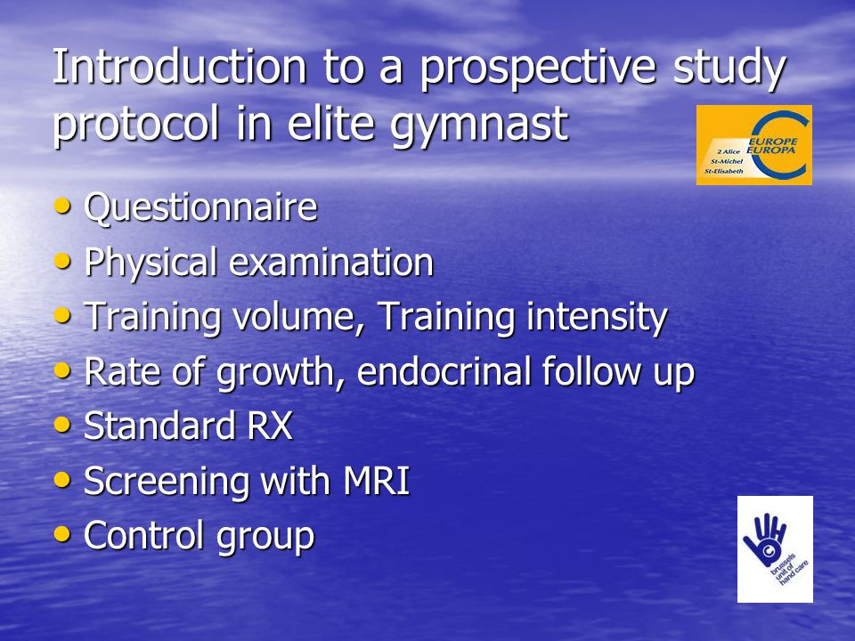 Introduction to a prospective study protocol in elite gymnast